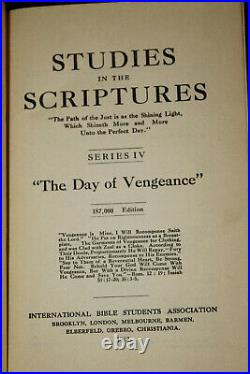 1912 THE DAY OF VENGEANCE Watchtower Studies in the Scriptures Jehovah WING GLBE