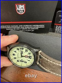 2009 Vtg Nos Luminox Watch Series 1820 Date And Day Leather Band Water Resist