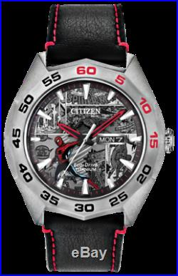 Citizen AW0061-01W Spiderman Black Leather Strap Day/Date 44mm Case MARVEL Watch