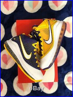 IN HAND SHIP FAST Authentic Nike LeBron 7 Media Day Lakers Size 5Y GS DA3203-500