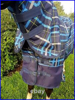 Next Day Post Limited Edition Blue Check 100g Combo Turnout Rug Sizes 49 / 7ft