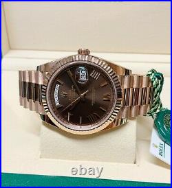Rolex Day-Date 40mm 228235 Chocolate Dial Rose Gold With Papers 2020 UNWORN