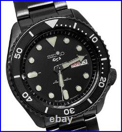 Seiko 5 Sports Automatic SRPD65 Black Day Date Stainless Steel Bracelet Watch