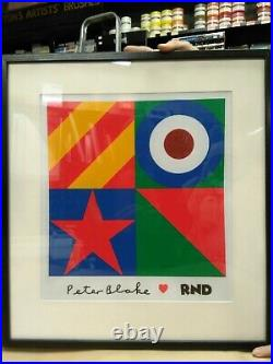 Very Rare Framed Sir Peter Blake Limited Edition Red Nose Day T-Shirt 2019